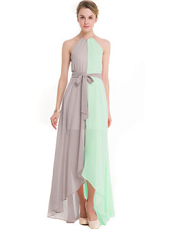 Color-blocked Sleeveless Asymmetric Maxi Dress