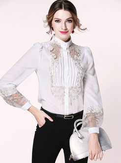 Mock Neck Lace Embroidered Chiffon Blouse