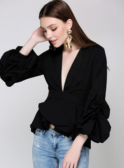 V-neck Lantern Sleeve Falbala Slim Blouse