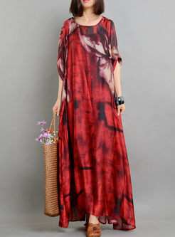 Print Linen Maxi Dress With Camisole
