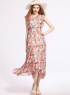 Bohemia Print Sleeveless High Waist Maxi Dress