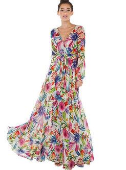 Deep V-neck Long Sleeve Waist Print Maxi Dress