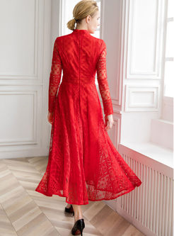Mock Neck Long Sleeve Embroidered Prom Dress
