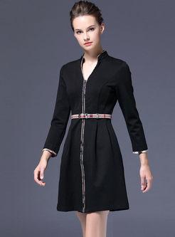 V-neck Long Sleeve Skater Mini Dress