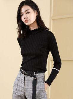 Black Turtleneck Pullover Slim Sweater