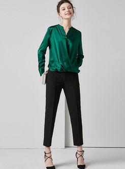 V-neck Long Sleeve Silk Blouse