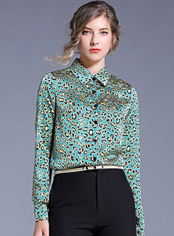 Long Sleeve Print Single-breasted Blouse