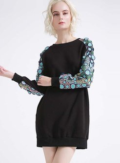 Patchwork Openwork Mesh T-shirt Dress