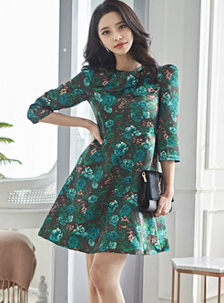 Crew Neck Print High Waisted Skater Dress