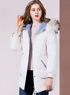 Color-blocked Hooded Orolay Coat Without Fur Collar