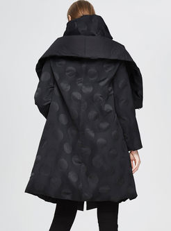 Black Hooded Long Polka Dot Down Coat