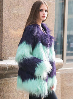Long Sleeve Paneled Faux Fur Coat