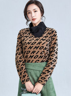 Cowl Neck Letter Print Knit Sweater