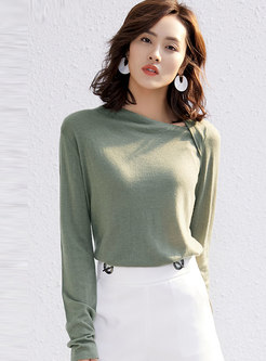 Irregular Solid Color Pullover Wool Blend T-shirt