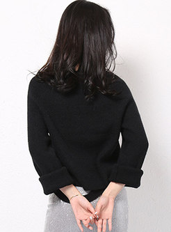 Solid Color Loose Pullover Sweater