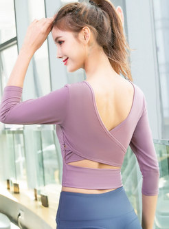 V-neck Backless Cross Slim Yoga Top