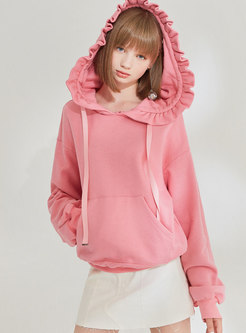 Solid Color Hooded Pullover Sweatshirt