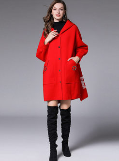 Plus Size Hooded Letter Print Coat
