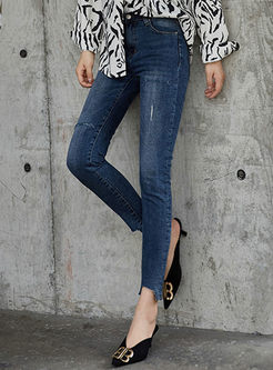 High Waisted Asymmetric Pencil Jeans