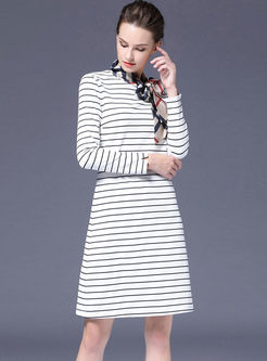 Long Sleeve Patchwork Striped T-shirt Dress