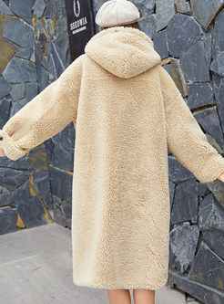 Hooded Single-breasted Long Teddy Coat