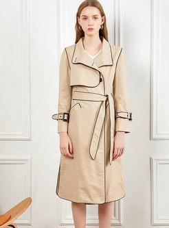 Khaki Long Sleeve Slit Long Trench Coat