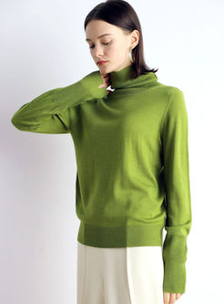 Solid Color Turtleneck Pullover Sweater