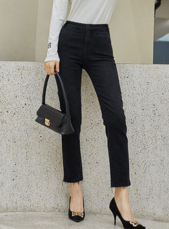 Black High Waisted Denim Straight Pants