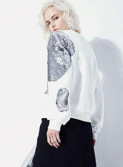 White Crew Neck Sequin Pullover Sweatshirt