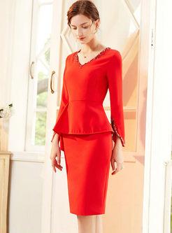 V-neck Flare Sleeve Bodycon Cocktail Dress