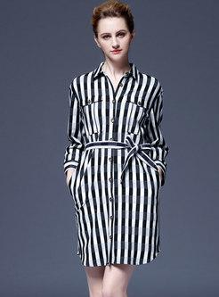 Striped Color-blocked Tie Mini T-shirt Dress
