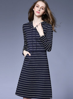 Striped Color-blocked Waist Hooded A Line Dress