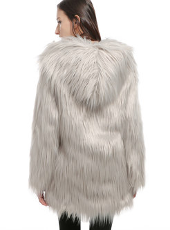 Solid Color Hooded Loose Faux Fur Coat