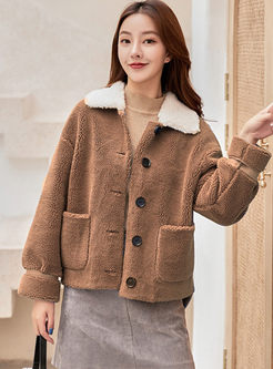 Solid Color Short Fleece Sherpa Jacket