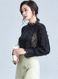 Mock Neck Lace Patchwork Slim T-shirt