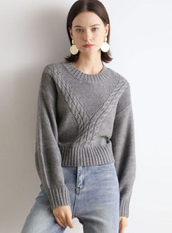 Long Sleeve Pullover Cable Knit Sweater