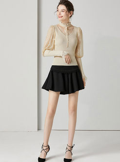 Lace Puff Sleeve Patchwork Slim Sweater