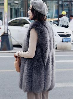 V-neck Sleeveless Paneled Faux Fur Vest