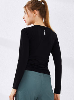 Crew Neck Long Sleeve Slim Workout Top