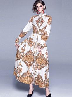 Mock Neck Long Sleeve Print Maxi Dress