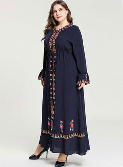 Plus Size V-neck Embroidered Maxi Dress