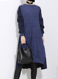 Crew Neck Long Sleeve Sweater Patchwork Dress