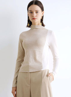 Color-blocked Pullover Slim Sweater