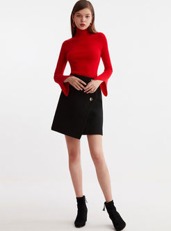 Red Turtleneck Flare Sleeve Sweater