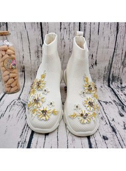 White Embroidered Wedge Short Boots