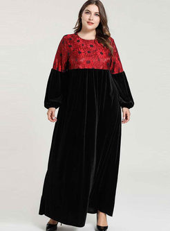 Crew Neck Plus Size Patchwork Maxi Dress
