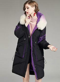 Fur Collar Hooded Long Down Coat