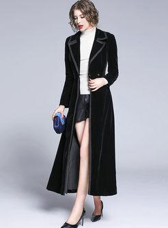 Notched Long Sleeve Velvet Long Coat