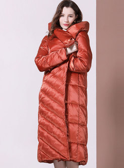 Solid Color Long Hooded Puffer Coat