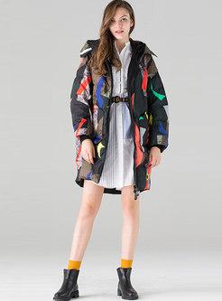 Print Hooded Loose Down Coat